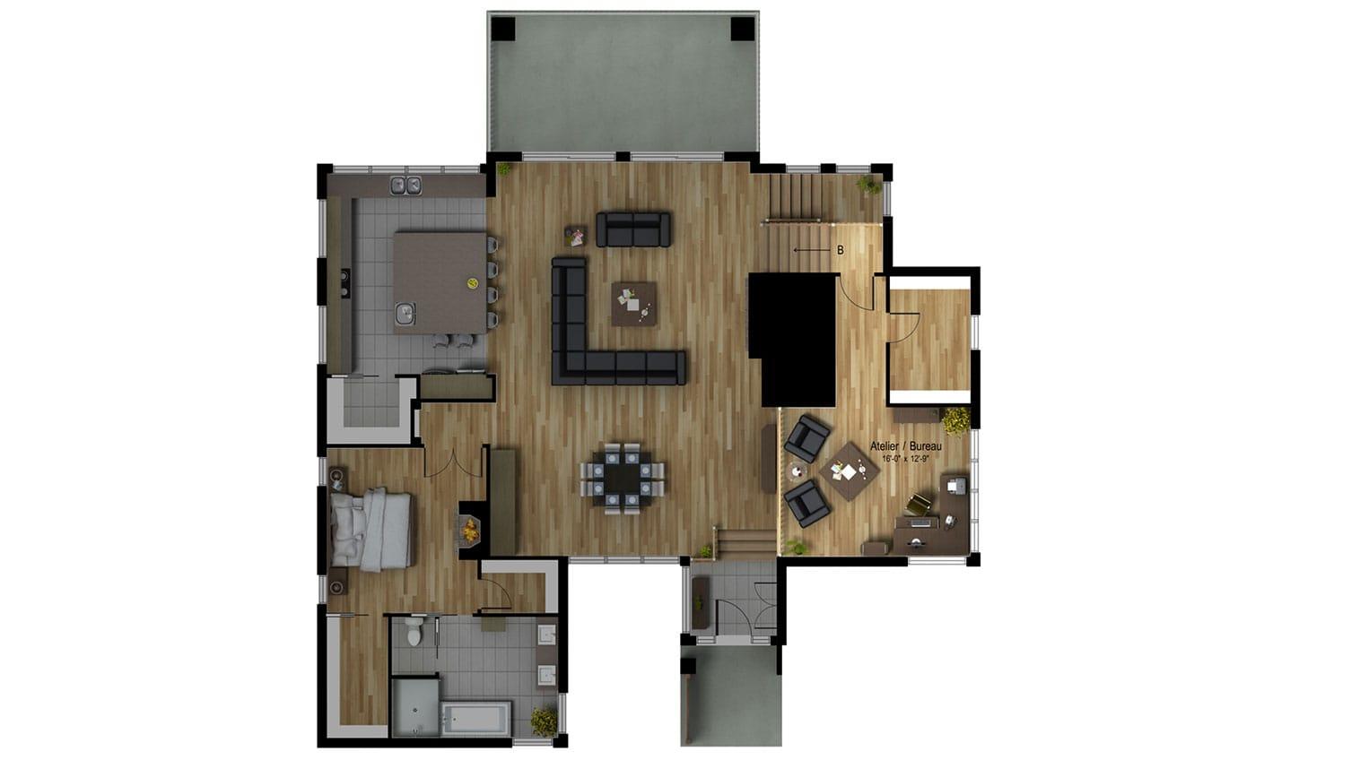 Le Norden | Projet immobilier à St-Sauveur | Maison d'inspiration | Le Mont-Blanc | Le plan